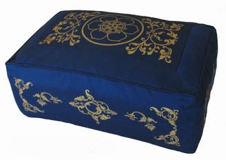 Boon Decor Rectangular Zafu Meditation Cushion Pillow Combination Fill - Blue SEE SYMBOLS