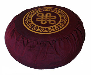 Boon Decor Meditation Cushion Round and Crescent Zafu Pillow - Burgundy SEE SYMBOLS