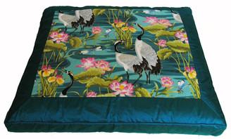 Boon Decor Meditation Cushion Zabuton Floor Mat Cranes in Lotus Garden One-of-a-Kind Teal