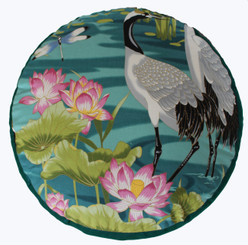 Boon Decor Meditation Cushion - One of a Kind Cranes in Lotus Garden Teal