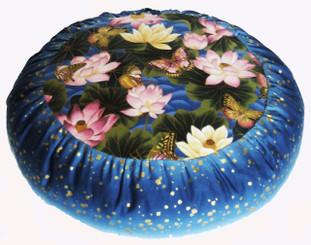 Boon Decor Meditation Cushion Zafu - Limited Edition Lotus Sanctuary Blue w/Gold Squares