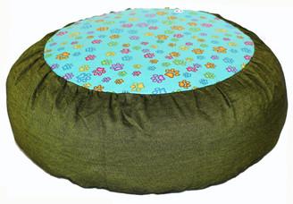 Boon Decor Meditation Cushion Zafu Pillow - Rare Find Fabric Paws Print Green