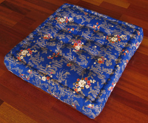 Meditation Floor Pillow - Sitting Cushion - Limited Edition - Flowers & Waves - Blue
