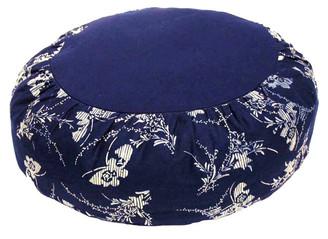 Boon Decor Meditation Cotton Zafu Pillow Blue and White Japanese Wood Block Print Butterflies