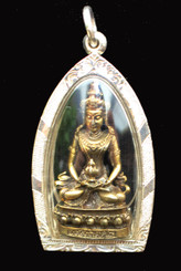 Boon Decor Buddha Pendant - Amitayus Long Life Bronze in Hand Crafted Silver Casing