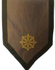 Boon Decor Altar Cloth - Embroidered - Dharma Wheel - Green /Taupe
