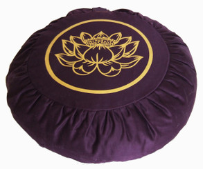 Boon Decor Zafu Meditation Cushion Buckwheat Lotus Enlightenment Soft Canvas Plum