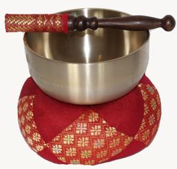 Boon Decor Singing Bowl Set - Spun Brass Rin Gong - 4.2 Diameter Bowl Red Brocade