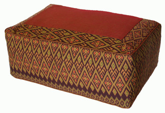 Boon Decor Rectangular Meditation Cushion Seat Buckwheat Kapok Fill Global Ikat Brown Diamond