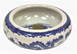 Boon Decor Ikebana Bowl - Blue and White Dragon 6 dia X 2.5 high