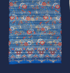 Boon Decor Yoga Mat - Quilted 100percent Polished Indochine Cotton Print - Blue/Dark Blue 70x24
