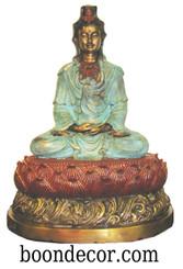 Boon Decor Kuan Yin Statue - Meditating On Lotus Blossom - Solid Bronze 16 CHOOSE FINISHES