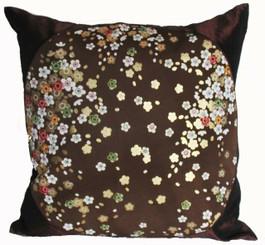 Boon Decor Silk Throw Pillow - Japanese Kimono Silk Brown/Gold SEE BOTH SIDES
