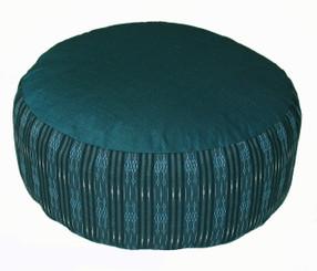 Boon Decor Meditation Cushion Buckwheat Kapok Fill Zafu Pillow - Global Weave Teal