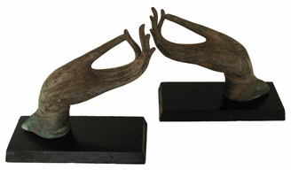 Hands Of Buddha Bronze Antique Reproduction - Vitarka Mudra - Pair Mounted On Wood Base