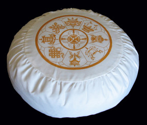 Boon Decor Meditation Cushion Buckwheat Zafu Pillow 8 Auspicious Symbols Ivory Gold