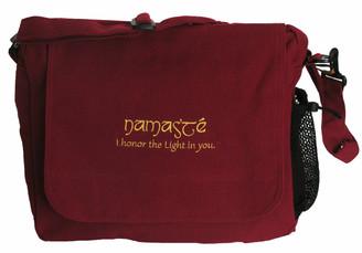 Boon Decor Messenger Bag - 100percent Cotton Canvas Burgundy Namaste 16x12x6