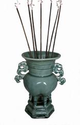 Boon Decor Celadon Incense Urn 8 high