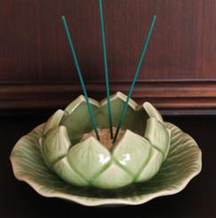 Boon Decor Incense Bowl/Plate Set - Celadon Lotus