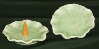 Boon Decor Celadon Miniature Lotus Leaf Dish - Set of 2