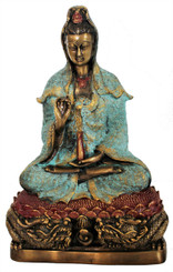 """Quan Yin Seated on Lotus Throne - Goddess of Compassion - Solid Bronze 9.5"""" h"""