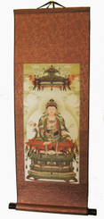 Boon Decor Quan Yin Silk Scroll Antique Painting Reproductions - Quan Yin Under Celestial Shelter