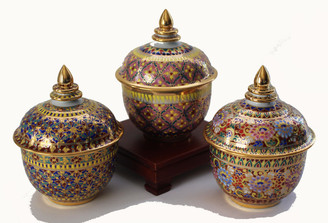 Boon Decor Hand Painted Benjarong Jar One of a Kind 3.5dia 5h SEE CHOICES