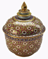 Boon Decor Hand Painted Benjarong Jar 22 KGold Accent One of a Kind 4.5dia 6h SEE CHOICES