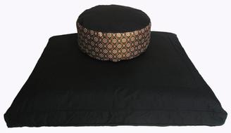 Boon Decor Black Zabuton Meditation Cushion Set - Higher Seat Zafu - Indochine Fabric SEE COLORS