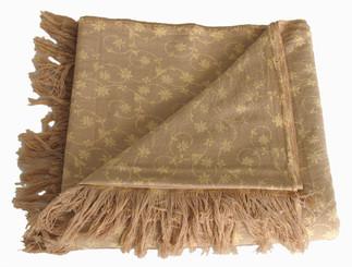 Boon Decor Meditation Shawl - 100percent Organic Cotton Hand-Loomed - Coco/Floral Pattern 45x90