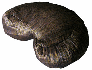 Boon Decor Crescent Zafu Meditation Cushion - Hand Loomed Silk - Luminous Beige