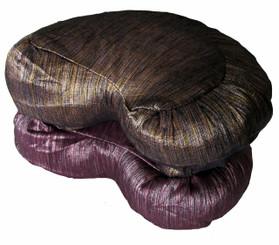 Boon Decor Crescent Zafu Meditation Cushion Buckwheat Fill - Hand Loomed Silk SEE COLORS