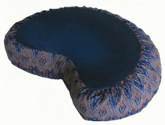 Boon Decor Crescent Zafu Meditation Cushion Buckwheat Fill - Global Ikat - Dark Blue Diamond