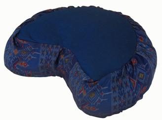 Boon Decor Crescent Zafu Buckwheat Meditation Cushion - Global Ikat - Blue