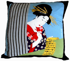 Boon Decor Throw Pillow - Silk Japanese Furoshiki Love Letter 24x24