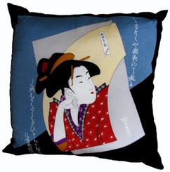 Boon Decor Throw Pillows - Japanese Silk Furoshiki Pondering Lady 24x24