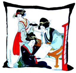 Boon Decor Throw Pillows - Japanese Silk Furoshiki Portrait Tea Party 24x24