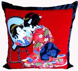 Boon Decor Throw Pillows - Japanese Silk Furoshiki Reflecting Beauty 24x24