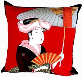 Boon Decor Throw Pillows - Japanese Silk Furoshiki Summer Breeze 24x24