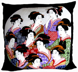 Boon Decor Throw Pillow - Japanese Silk Furoshiki Ten Beauties