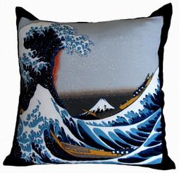 Boon Decor Decorative Throw Pillow - Japanese Silk Furoshiki The Great Wave of Kanagawa