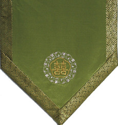Boon Decor Altar Cloth Or Wall Hanging - Embroidered w/ Brocade Silk Trims - Double Happiness