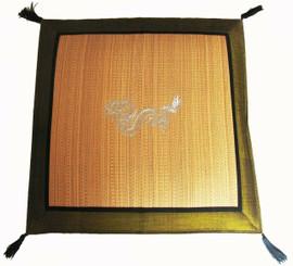 Boon Decor Japanese Zabuton Tatami Floor Mat - Embroidered Dragon Green