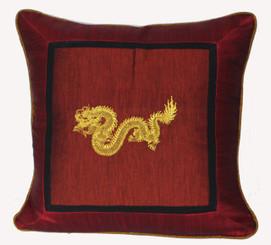 Boon Decor Silk Throw Pillow - Embroidered Dragon