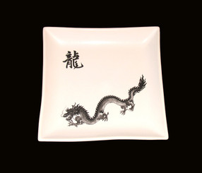 Boon Decor Dragon Salad Plate 7 Square - Set of Two -Dragon Stoneware Table Top - Open Stock