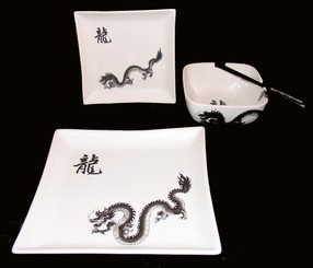 Boon Decor Dragon Stoneware Table Top - Set Of Two Asian Style Dinnerware