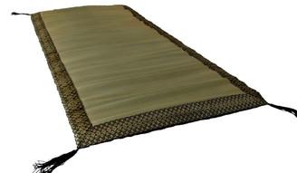 Boon Decor Travel Meditation Floor Mat Japanese Tatami w/ Black Brocade Trim 45x26