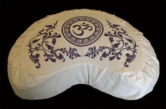 Boon Decor Crescent Zafu Buckwheat Meditation Cushion Purity Collection Ivory SEE SYMBOLS