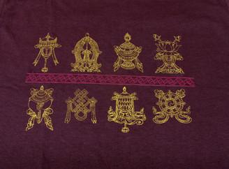 Tee Shirts - Eight Auspicious Symbols: Tee-shirt, Zen - Eight Auspicious Symbols, Brown