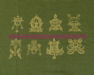 Tee Shirts - Eight Auspicious Symbols: Tee-shirt, Zen - Eight Auspicious Symbols, Olive